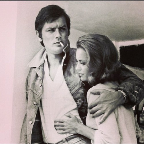 Regram of classic shot of Alain Delon & Romy Schneider from @briklilya