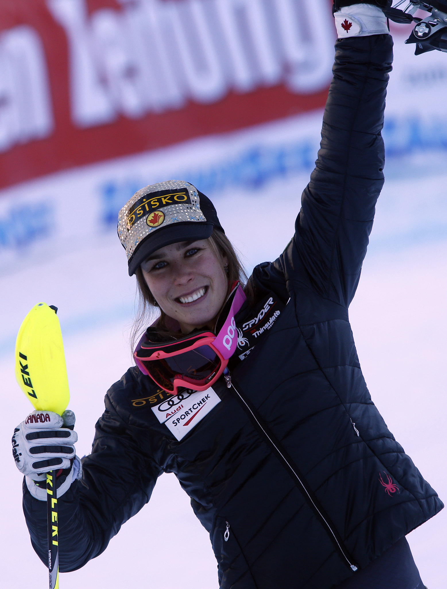Gagnon celebrates a victory in Altenmarkt, AUT