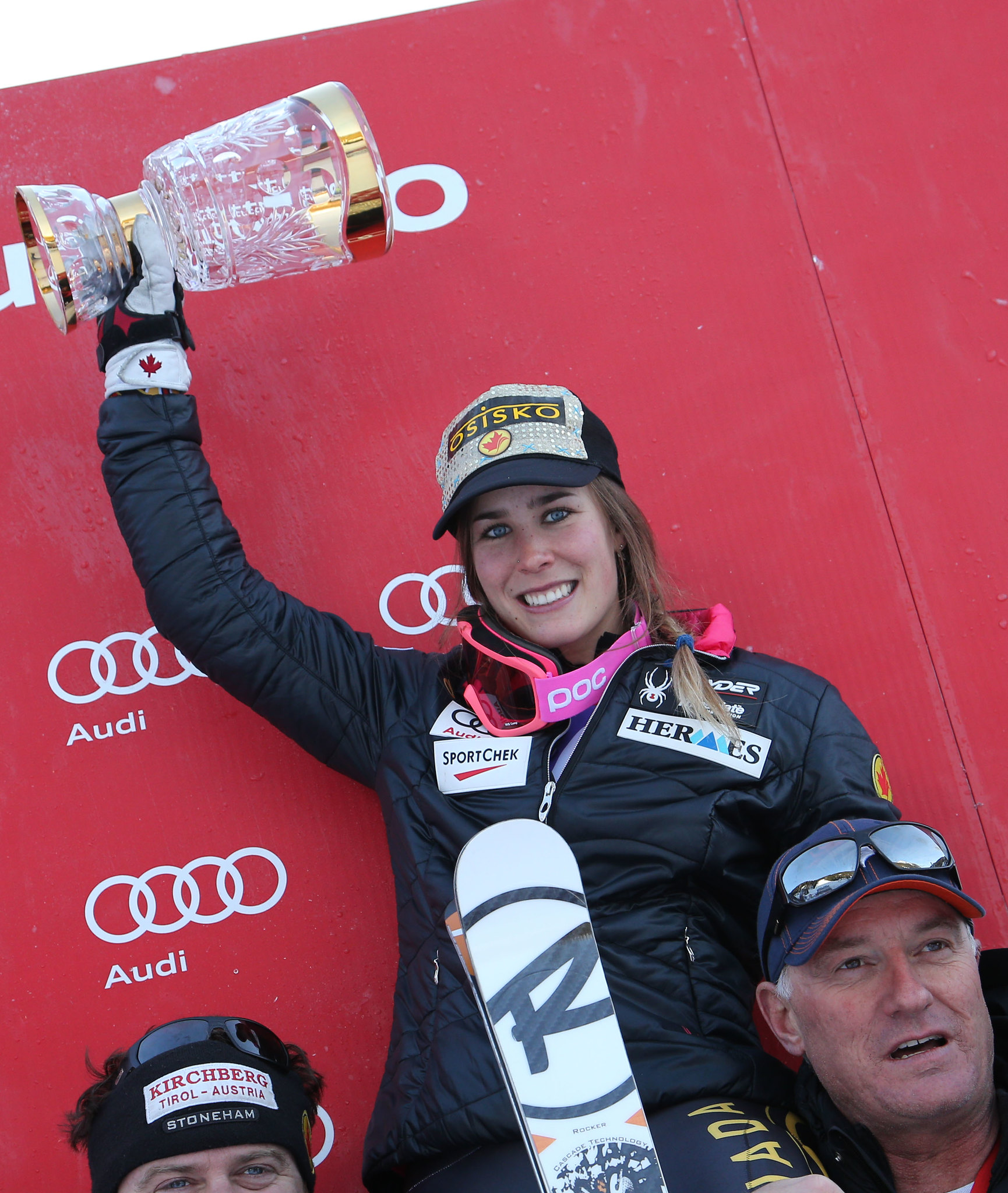 Gagnon celebrates with her team following a win in the super combined in Altenmarkt, AUT