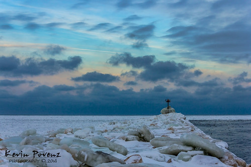 blue sky snow ice water sunrise pier michigan january stjoseph lakemichigan lighhouse 2014 westmichigan kevinpovenz