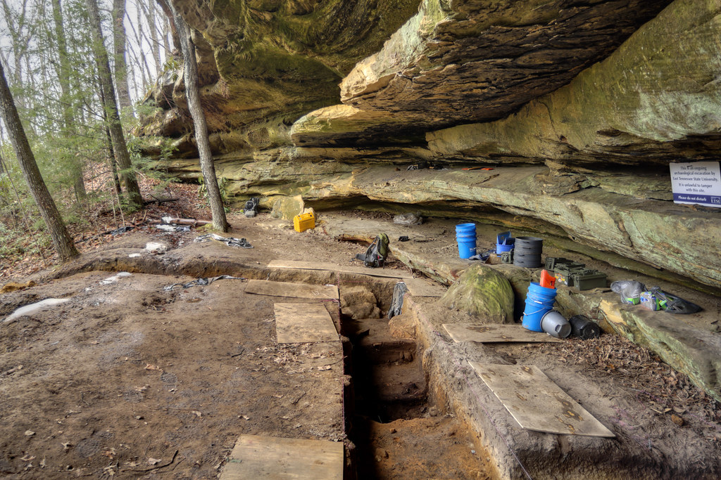 Rock shelter excavation, Jay Franklin, Picket State Forest, Picket County, Tennessee
