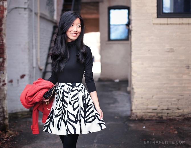 red jacket leaf skirt