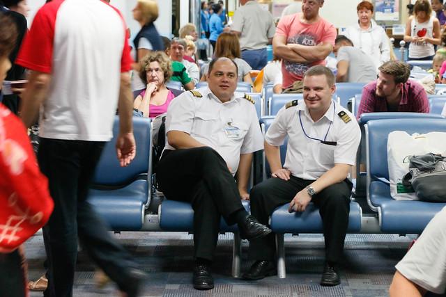 Phuket Airport, smiling pilots