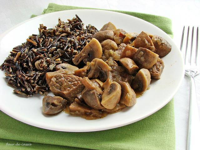 телятина с грибами