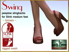 Bliensen + MaiTai - Swing - Peeptoe Slingbacks for Slink Feet - brown Kopie