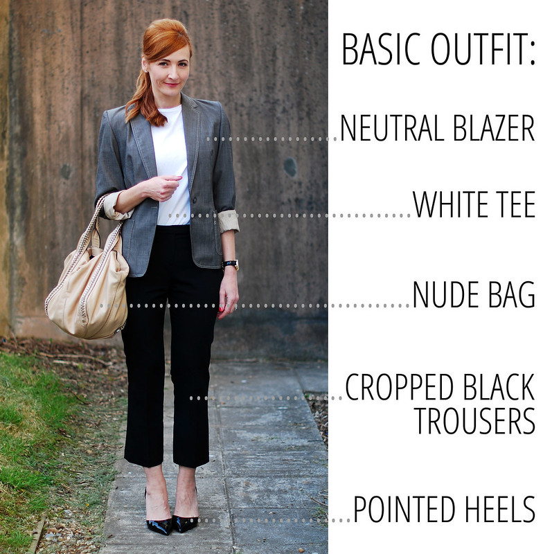 Basic neutral office outfit