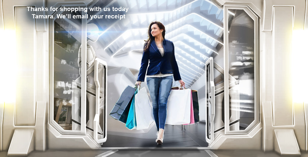 A personalised, frictionless shopping experience of the future with image showing woman leaving store with shopping bags