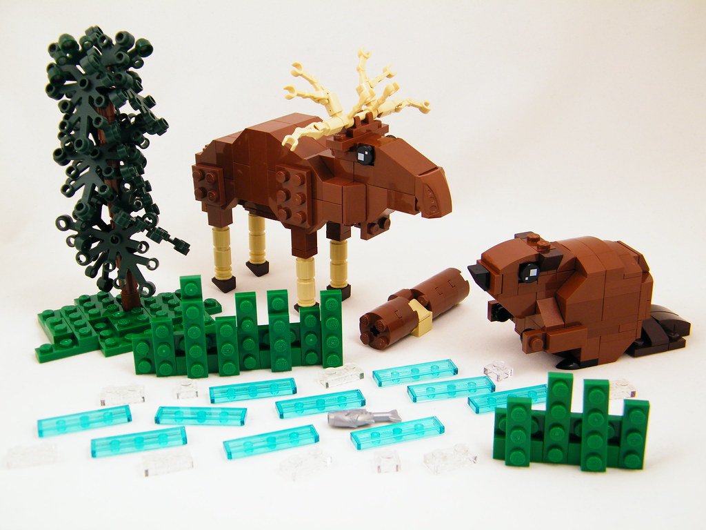CanadaBuilds150: Moose and Beaver (custom built Lego model)