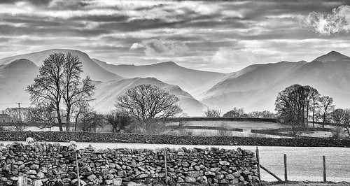 england cumbria lakedistrict view landscape hills fells mountains north west keswick wall drystone trees spring march mist cloud storms blackwhite monochrome fujixt1 18135mm