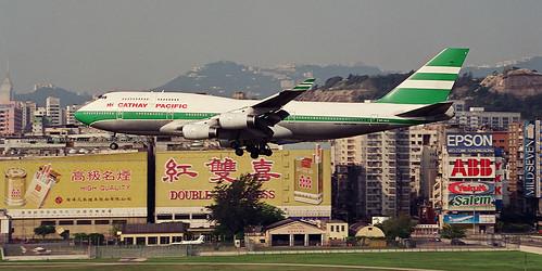 """Boeing, 747-467, VR-HUA, """"Cathay Pacific"""", VHHH, Kai Tak, Hong Kong"""