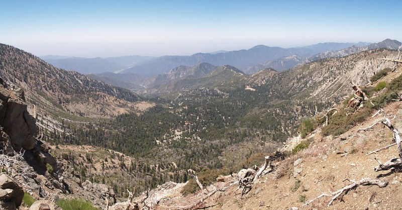 Panorama view of the Crystal Lake Recreation Area from the PCT on the ridge west of Mount Hawkins
