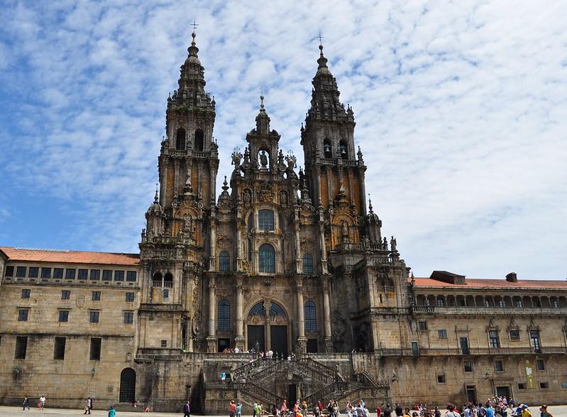 Camino de Santiago Walk: Facade of the Obradoiro , Cathedral of St Jacques de Compostela