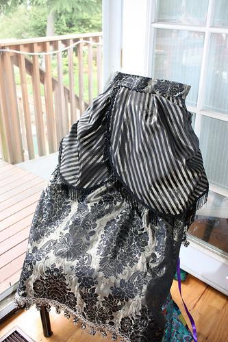 bronze black bustle skirt front