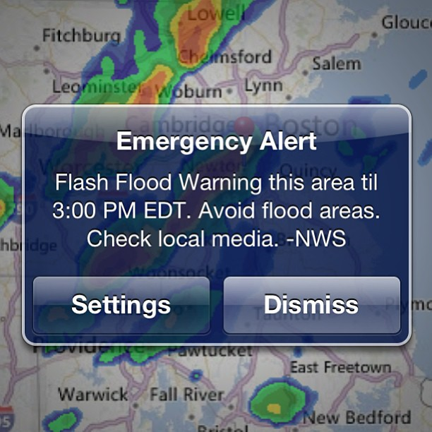Wow. Have never seen this before. Boston: Flash Flood Warning. Emergency Alert.