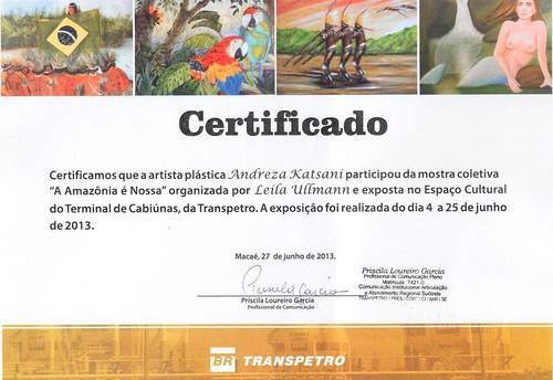 Certificado exposição Andreza Katsani by Andreza Katsani