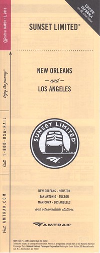 Amtrak Sunset Limited 2013 Cover