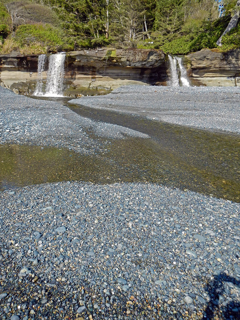 waterfalls onto Sandcut Beach
