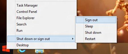 выход из системы Windows 8.1