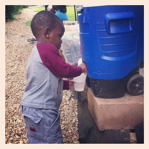 This little fella had the best time putting water on his cup over and over and over and...