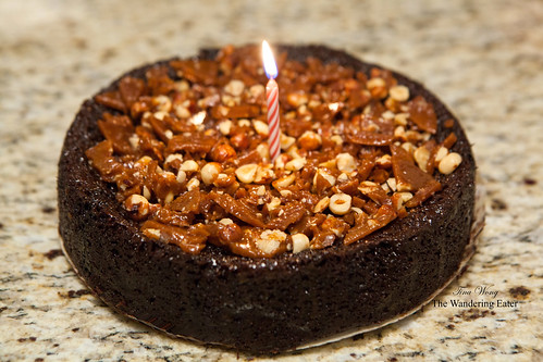 My brother's birthday cake: Rich chocolate cake with salted bourbon cajeta and hazelnut brittle