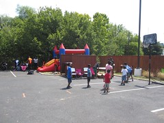 A bounce house and basketball, plus a professional DJ, made the long line more manageable.