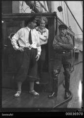 Count Felix Graf and Countess Ingeborg von Luckner with Karl Muller on board SEETEUFEL