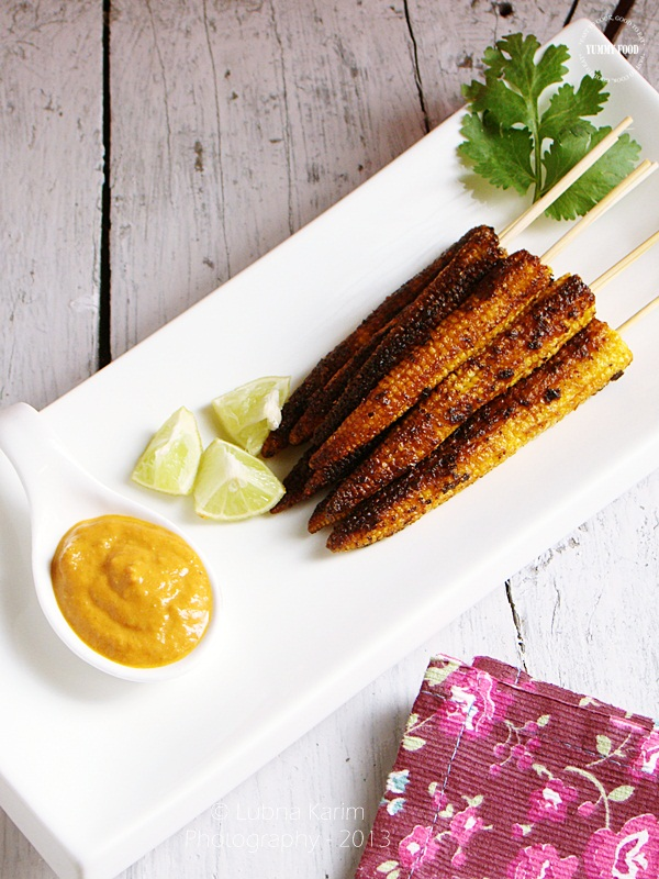 Babycorn Satay with Tomato Chutney