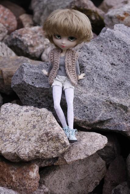 Sitting on stones