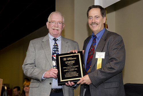 "Dr. Haines receiving the Indiana Optometric Association's ""Optometrist of the Year"" award for 2013."