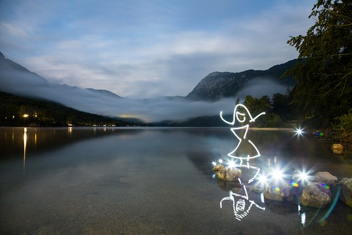 Light Unleashed (Light Painting), Bohinj Jezero by flatworldsedge