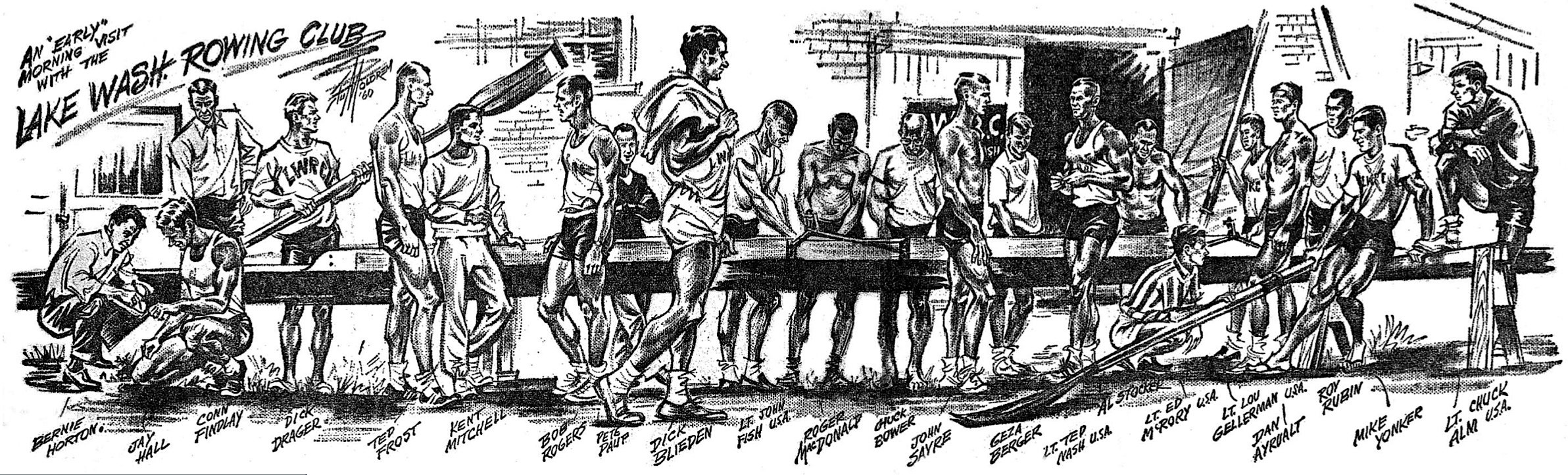 """""""An early morning visit with the Lake Washington Rowing Club,"""" 1960 cartoon by Stu Moldrem of the Seattle Post-Intelligencer (Scoll Down for Detailed Description)"""