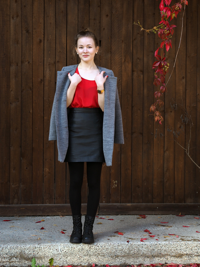 leather skir + red silk top