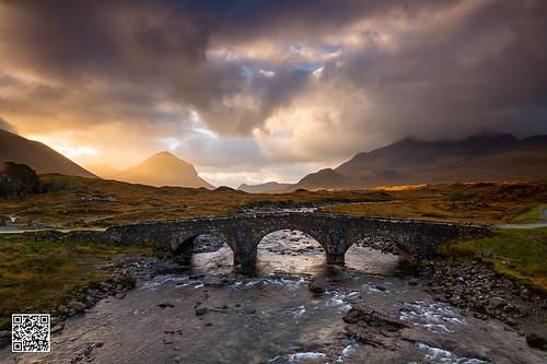 bridge skye clouds river scotland cuillins sligachan marsco beinndearg