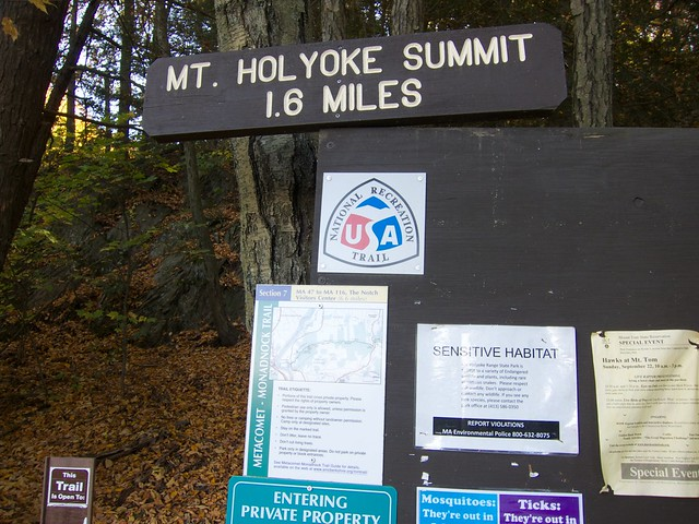 Holyoke Range, Map, Massachusetts, Metacomet-Monadnock Trail, Mt. Holyoke, Sign