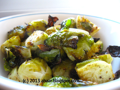 Roasting brussel sprouts with mustard paste for Thanksgiving