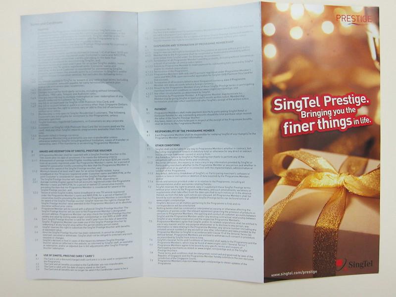 SingTel Prestige - Brochure Back