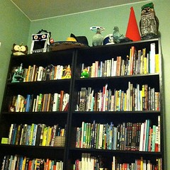 Some friends hanging out on top of two of my many bookcases. What's your library look like? #libraryshelfie
