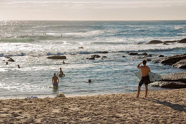 A surfer at Bronte beach in Sydney, Australia.