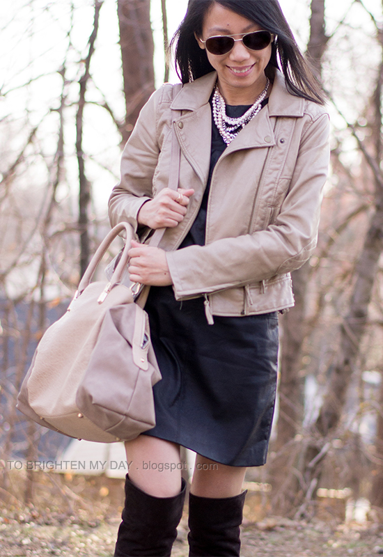 tan leather jacket, statement necklace, black leather dress, brown suede knee high boots