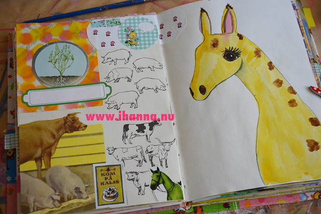 Art Journal Spread: Farm animals and Giraffe girl