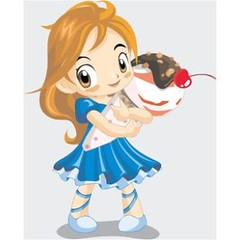 free vector Cute Baby Girl With Icecream Fun Card For Kids
