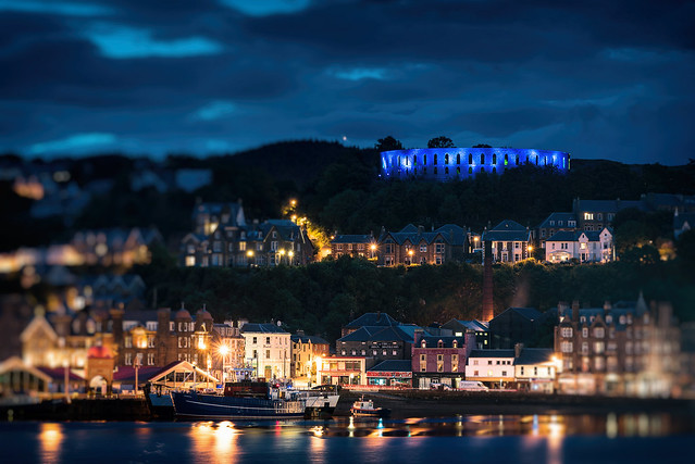 oban by night, scotland