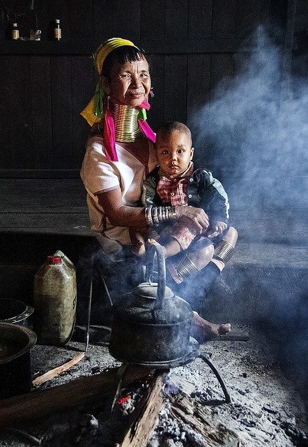 Padaung woman with her grandchild