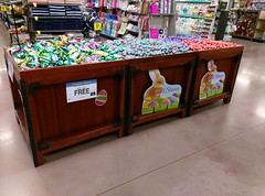 Kroger Easter candy, in re-purposed produce bins
