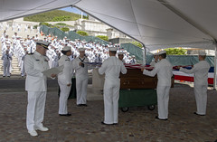 Navy chaplain Lt. Keith Russell reads an invocation during a burial ceremony to reinter Navy Seaman 1st Class Murry R. Cargile at the National Memorial Cemetery of the Pacific, April 7. (U.S. Navy/MC2 Katarzyna Kobiljak)