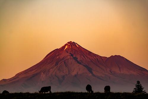 Mt Taranaki sunset.