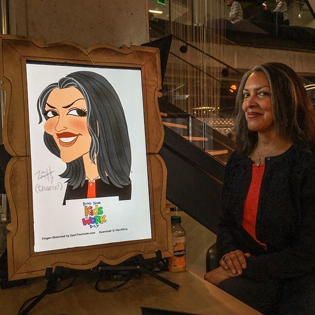 My lovely client from a #BringYourKidToWorkDay last week.... #livedigitalcaricature #caricaturist #fingersketched #sfbayarea #corporateevent  #BringYourKidsToWorkDay