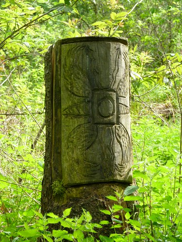Chainsaw art of a Roman shield