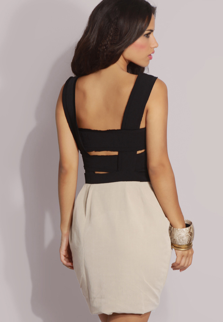 ASOS PETITE Contrast Back Strap Zip Front Dress