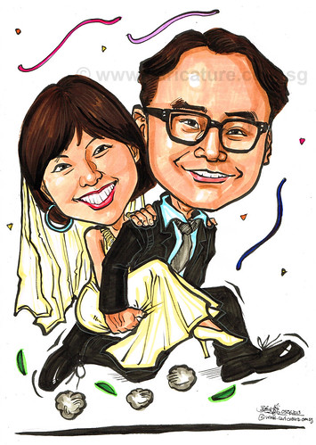 wedding couple caricatures in colour marker